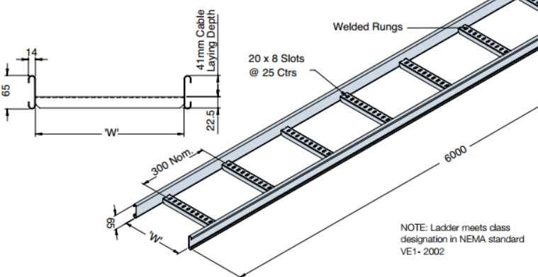 Cable Ladder Type 2 30 Nema 12a 65mm High Side
